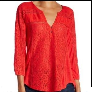 Lucky Brand Lacy Top in Orange